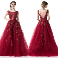 2017 Fairytale Prom Dress Long evening ball gown in Burgundy