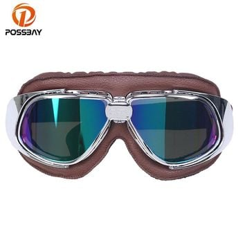 POSSBAY Goggles Motocross Goggle Glasses Motorcycle Cycling Goggles Cruiser Steampunk Bicycle Helment Glasses Ski Skate Eyewear