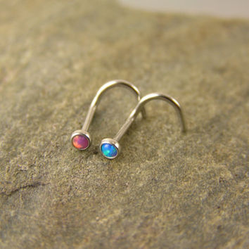 Fire Opal Nose Screws - Lot of 2 - Pink opal, Blue opal, 20g, 2mm nose stud, nose ring, simple, dainty, small, tiny, corkscrew stud