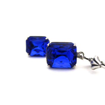 Deep Blue Earrings - Midnight Ocean Nautical Blue - Silver Plated Art Deco Rhinestone Jewelry