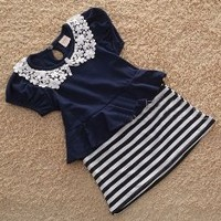 striped peplum dress, lace trimming, strip skirt, children dress, girls peplum dress, toddler dress, infant dress, navy