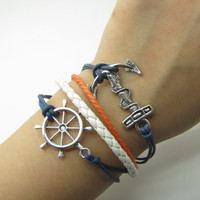 Blue Rope and White Leather Steampunk Bracelet antique silver anchor bracelet, Adjustable Bracelet 922S