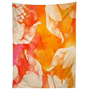 Kangarui Watercolor Elephant Tapestry