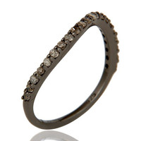 Pave Diamond Black Oxidized Sterling Silver Band Ring