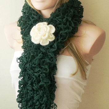 Emerald Green Color- Web lace -Handmade- Crochet Scarf,  Gift with brooch