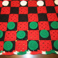 Checker Game Crocheted in Christmas Colors