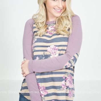 Morning Lavender Floral Striped Top
