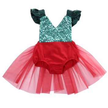 Sequins Red Green Xmas Girls Dress Cute Newborn Baby Girl V neck Tulle Romper Dresses Christmas Jumpsuit Sunsuit Outfits Costume