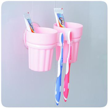 New Toothbrush Holder+Gargle Cups Set Couple Set Wall Mount Sucker Cup Rack Bathroom Accessories