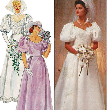 1980s Bridal Wedding Bridesmaid Dress Gown Pouf Sleeves Fitted Bodice Fit Flare UNCUT Butterick 4766 Vintage Sewing Pattern Size 18 Bust 40