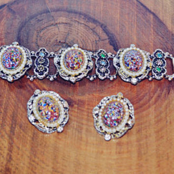 Millefiori Bracelet And Earring Set, Vintage Jewelry