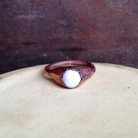 White Glass Ring - Tiny Ring - Copper Electroformed Ring - SIZE 5.5