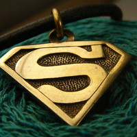 Superman pendant jewelry, Superwoman, Super Hero, DC comics,  Superman Symbol, Superman Logo, Superman Gift