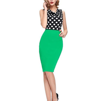 Women Pencil Clothing red party dresses vestidos 2017 Summer style Slim Club work OL Ladies Polka Dot sexy Bodycon office Dress