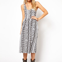 ASOS Midi Sundress With Scoop Back In Aztec Print