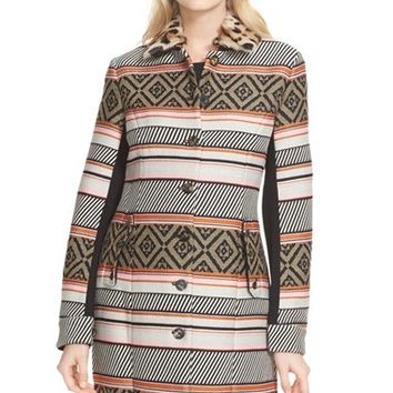Women's Diane von Furstenberg 'Allena' Woven Coat with Genuine Lamb Fur Collar,
