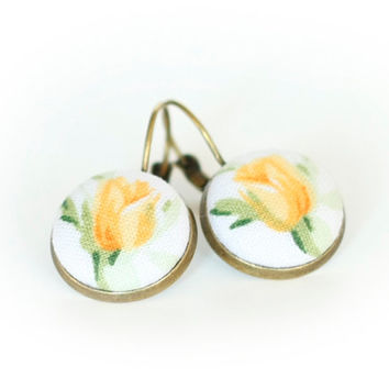 Leverback Earrings - Yellow Roses - Yellow Flowers and Green Leaves on White Romantic Fabric Covered Buttons Earrings
