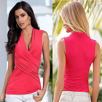 Summer Women's Fashion Short Sleeve Sexy V-neck Tops T-shirts [6343447041]