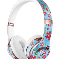 Flowers with Stems over Light Blue Watercolor Full-Body Skin Kit for the Beats by Dre Solo 3 Wireless Headphones