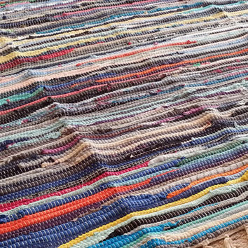 Large Rag Rug / Colorful Scraps / 6' Area Rug / Hand Woven Chindi / Bright Colors Cotton Primitive Rag Rug / Vegan