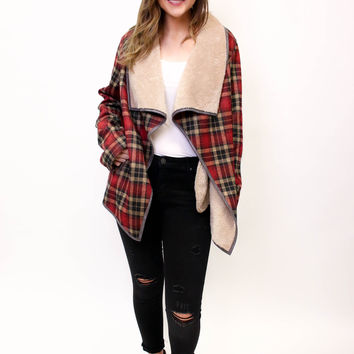 Red Mix Plaid Fur Lined Jacket