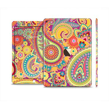 The Neon Orange Paisley Pattern Skin Set for the Apple iPad Air 2