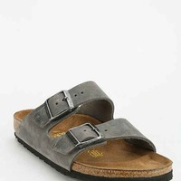 Birkenstock Arizona Iron Oiled Leather Slide Sandal- Dark Grey