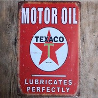Texaco Motor Oil Distressed Tin Metal Sign 8x12