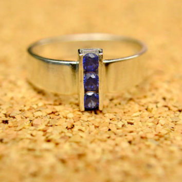 Sapphire 3 Stone Ring, Sterling Silver and Channel Set Blue Sapphire Ring, September Birthstone