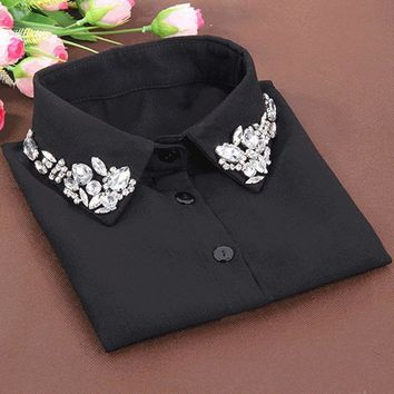 Korean fashion White Half Shirt Detachable High-grade crystal female blouse Fake collar Blouses Peter pan Detachable Collar