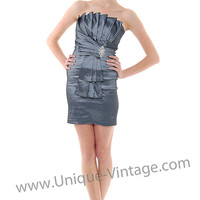 Strapless Charcoal Vertical Pleated Rhinestone Prom Dress