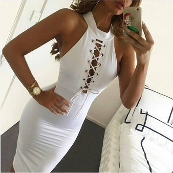 Pure Color Strapiess Sheath Bodycon Dress