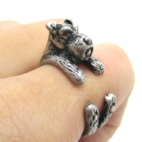 Miniature Schnauzer Dog Shaped Animal Wrap Ring in Silver | US Sizes 5 to 9