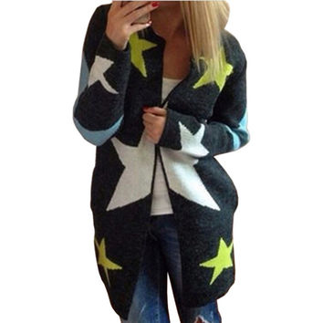 Sweater Women Long Cardigans Sweaters Women Long knitted Sweater Stars Pattern Print Loose O-neck Warm Long Sleeve Warm Outwear