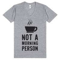 Not A Morning Person (V Neck)-Unisex Athletic Grey T-Shirt