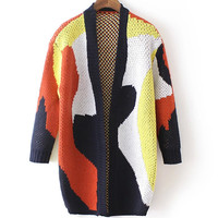 Abstract Mosaic Geometric Loose Knit Sweater