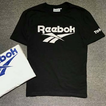 Reebok Summer trendy classic color large log black and white T-shirt F-XMCP-YC Black