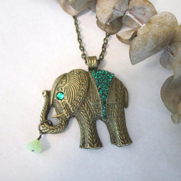 Elephant Necklace  Pendant  Emerald by 636designs on Etsy