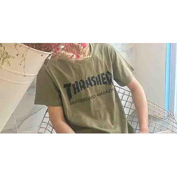 Thrasher Skate Magazine Classic Flame Print Round Collar Couple T-Shirt F-XMCP-YC green