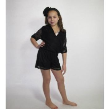 VINTAGE HAVANA Black Lace Romper - Tweens & Juniors