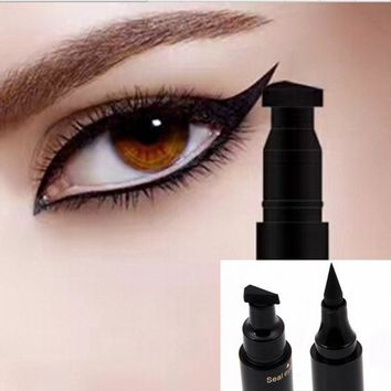Sexy Waterproof Double Head Black Eyeliner Wing Shape Seal Liquid Eyeliner Pencil Cat Eye Tool Quick Makeup Cosmetic