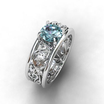 Wide Aquamarine and diamond filigree engagement ring, filigree ring, light blue, aquamarine wedding, unique, diamond ring, white gold, band