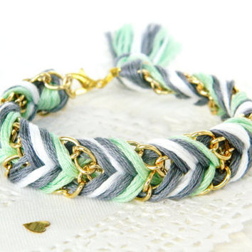 Clouded Mint  Slate Grey Pearl & Mint  Chevron Braided by HelloZee