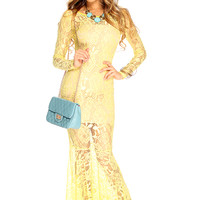 Yellow Floral Lace Mesh Ruffle Sexy Maxi Dress
