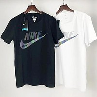 NIKE Popular Women Men Leisure Big Logo Print Round Collar T-Shirt Top