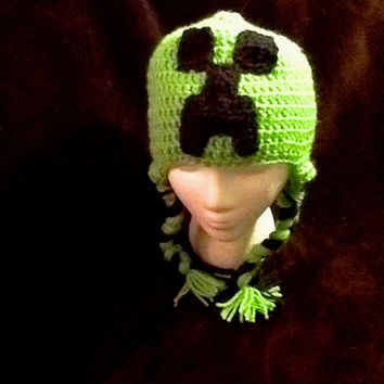 Minecraft Creeper Crochet Beanie - all sizes - made to order