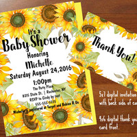 Sunflower Baby Shower Invitations, Floral, baby shower invitation, Printable digital,Boho, Baby Shower Invitations, 5x7 baby shower invite