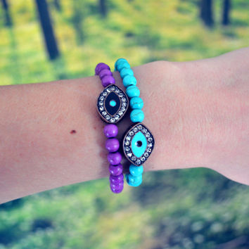 Evil Eye Bracelet Hippie Arm Candy Turquoise Bohemian Stretchy Bracelet Beaded Stackable Arm Candy Boho Evil Eye Jewelry Teal Evil Eye