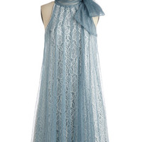 Ryu Vintage Inspired Mid-length Sleeveless Tent Time and Grace Dress in Dusty Blue