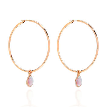 M'O Exclusive: Large Rose Gold Hoops With Medium Opal Flip Charm | Moda Operandi